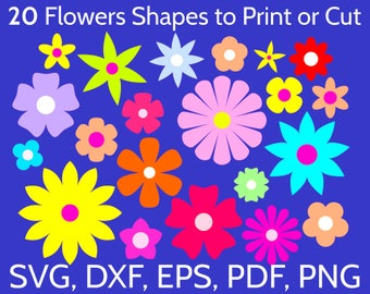 20 SVG Flowers Shapes to Print or Cut with Cricut & Silhouette. Simple and Beautiful Flower SVG Bundle Clipart, DXF, pdf, png cut files