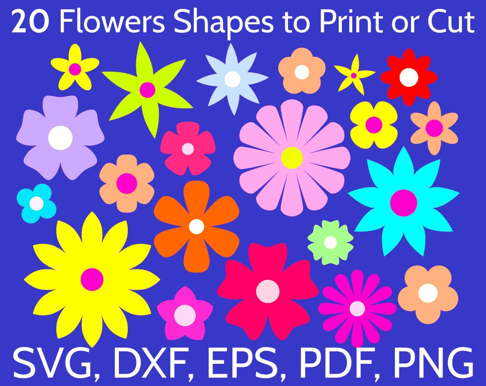 20 SVG Flowers Shapes To Print Or Cut With Cricut &