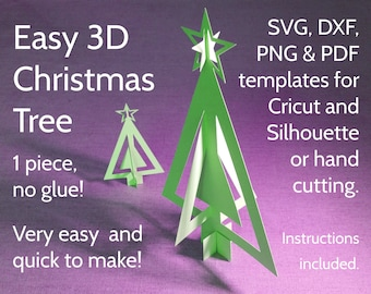 DIY Paper 3D Christmas Tree Template SVG, PDF, dxf, png for Cricut, Silhouette and hand cutting. Original Christmas paper craft design.