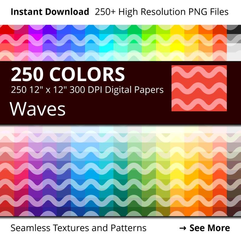 Waves Digital Paper Pack 250 Colors Waves Scrapbook Paper image 0
