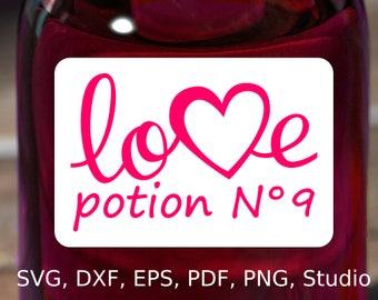 Love Potion Number 9 Label SVG file, Printable Love Potion Label PDF, Love Potion No 9 Label Clipart PNG, Love Potion 9 Cricut N9 Silhouette