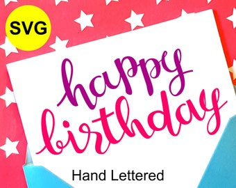 Happy Birthday SVG File and printable clipart to make a Happy Birthday card or Birthday Party sign and decor