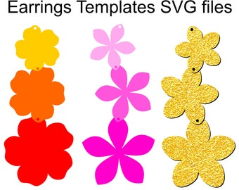 Flower Earrings templates SVG Files for Cricut and Silhouette to make DIY Flowers Earrings and Pendant