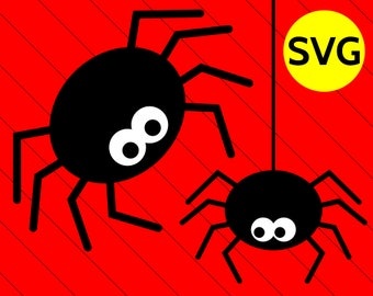 SVG Hanging Spider SVG Cut Files for Cricut & Silhouette, Halloween SVG design, Spider Clipart, Svg Spider Design