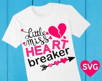 Valentine's Day Little Miss Heart Breaker SVG file for Cricut & Silhouette, Lil Miss Heartbreaker SVG Valentine saying, Valentine SVG files