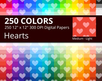 250 Tinted Hearts Digital Paper Pack with 250 Colors, Rainbow Colors Medium Light Heart Pattern Scrapbooking Paper