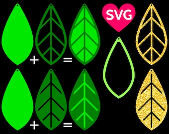 Leaf Earrings SVG Cut Files for laser cut, Cricut & Silhouette and templates to make stacked Earrings with leaves shapes