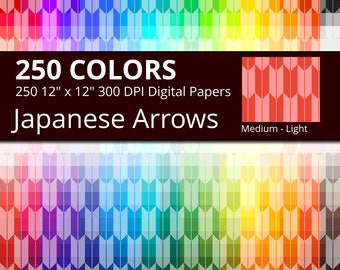 250 Japanese Arrows Digital Paper Pack with 250 Colors, Rainbow Colors Medium Tinted Japanese Arrows Pattern Scrapbooking Paper Download