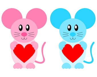 Very cute pink, blue and grey Love Mouse SVG files for Valentine's Day cards and gifts