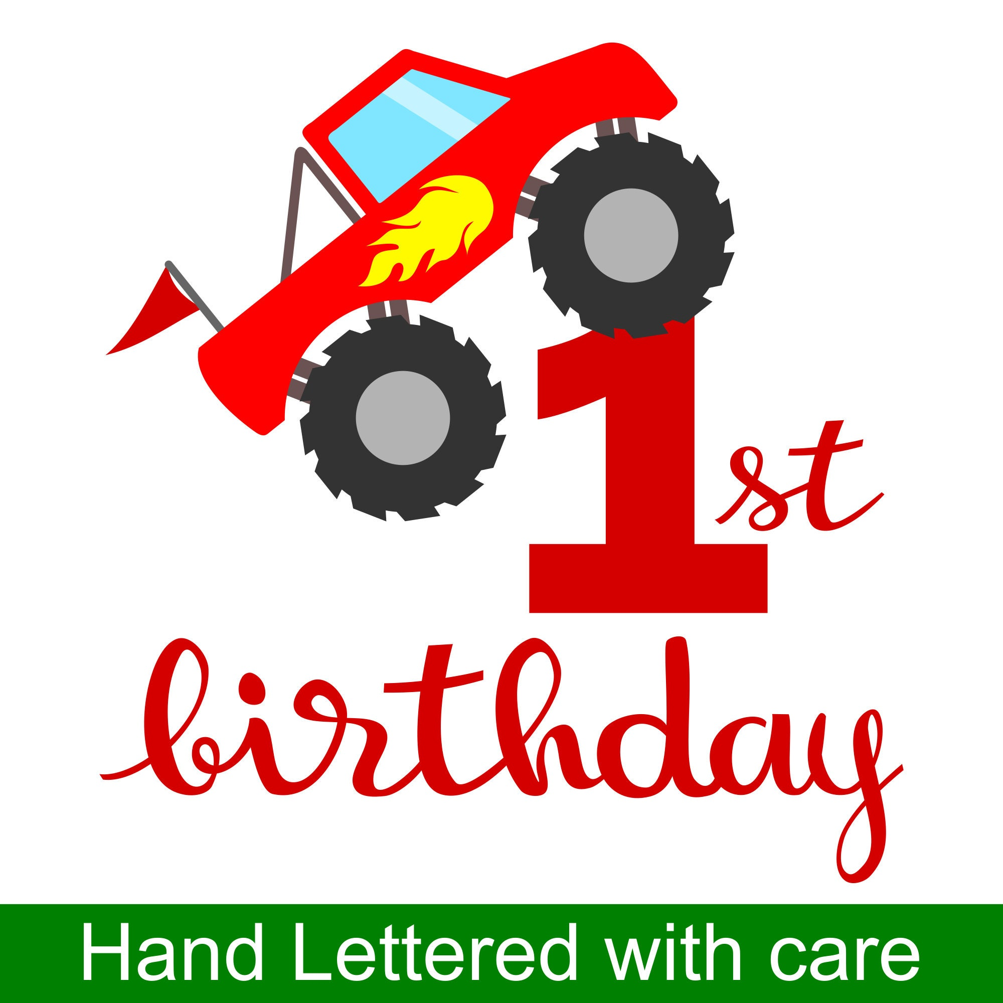 Monster Truck 1st Birthday SVG and Printable Clipart to make a 1st ...