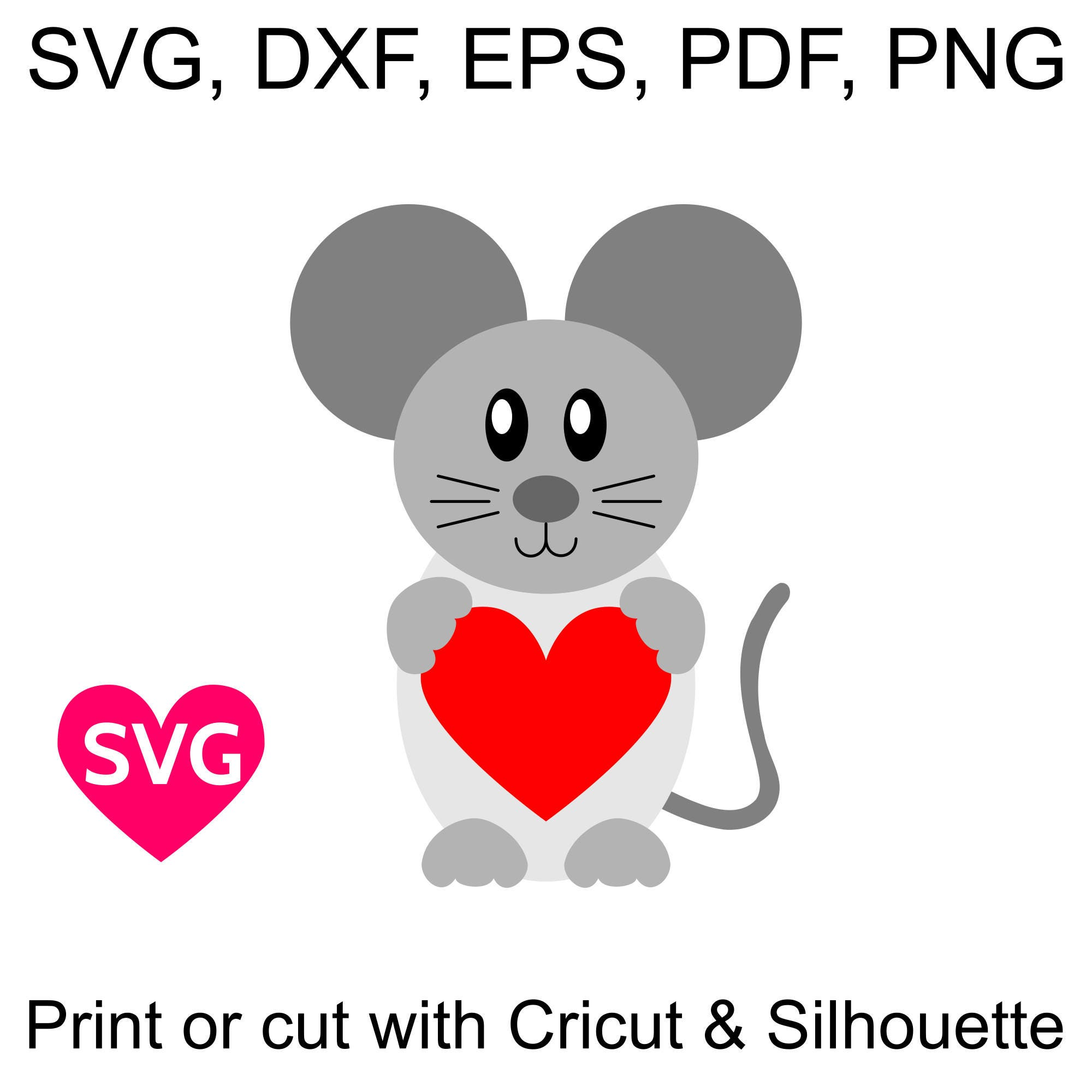 Very Cute Pink Blue And Grey Love Mouse Svg Files For Valentine S Day Cards And Gifts
