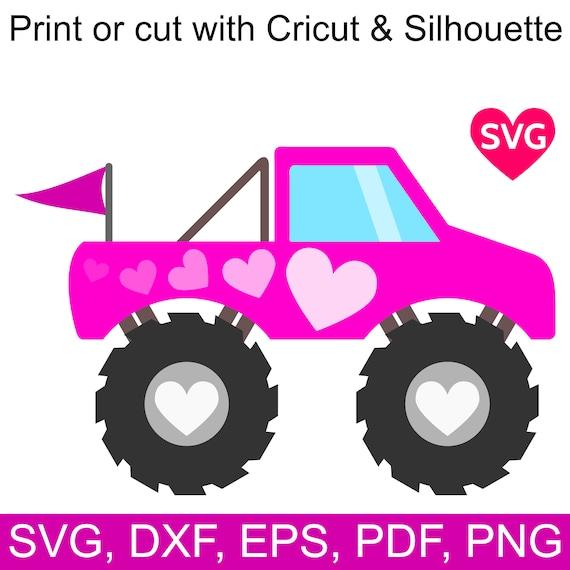 Pink Monster Truck Svg File For Cricut Love Monster Truck For Etsy