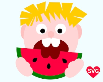 Boy Eating Watermelon SVG File for Cricut and Silhouette, Summer SVG File for Boys and printable watermelon clipart