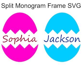 Split Easter Egg Monogram Frame SVG with a Cracked Easter Egg Shell to make a boy or girl monogram