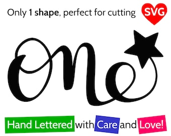 One and Star SVG File for Boy and For Girl to make a First Birthday Cake Topper or Card