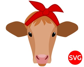 Heifer cow with bandana SVG file for Cricut & Silhouette