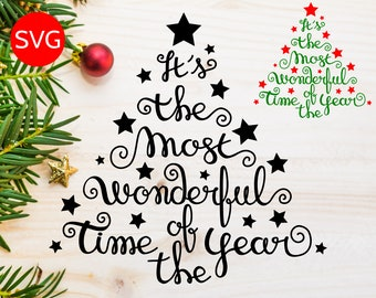 EXCLUSIVE It's the Most Wonderful Time of the Year SVG file for Cricut & Silhouette - Christmas Tree SVG files - Christmas Sayings Clipart