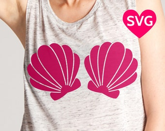 Mermaid Bra with Sea Shells SVG file for Cricut and Silhouette to make a Sexy Mermaid Shirt with a Clamshell Bra