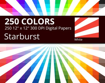 250 White Starburst or Sunburst Digital Paper Pack with 250 Colors, Rainbow Colors White Starburst Sun Rays Pattern Scrapbooking Paper