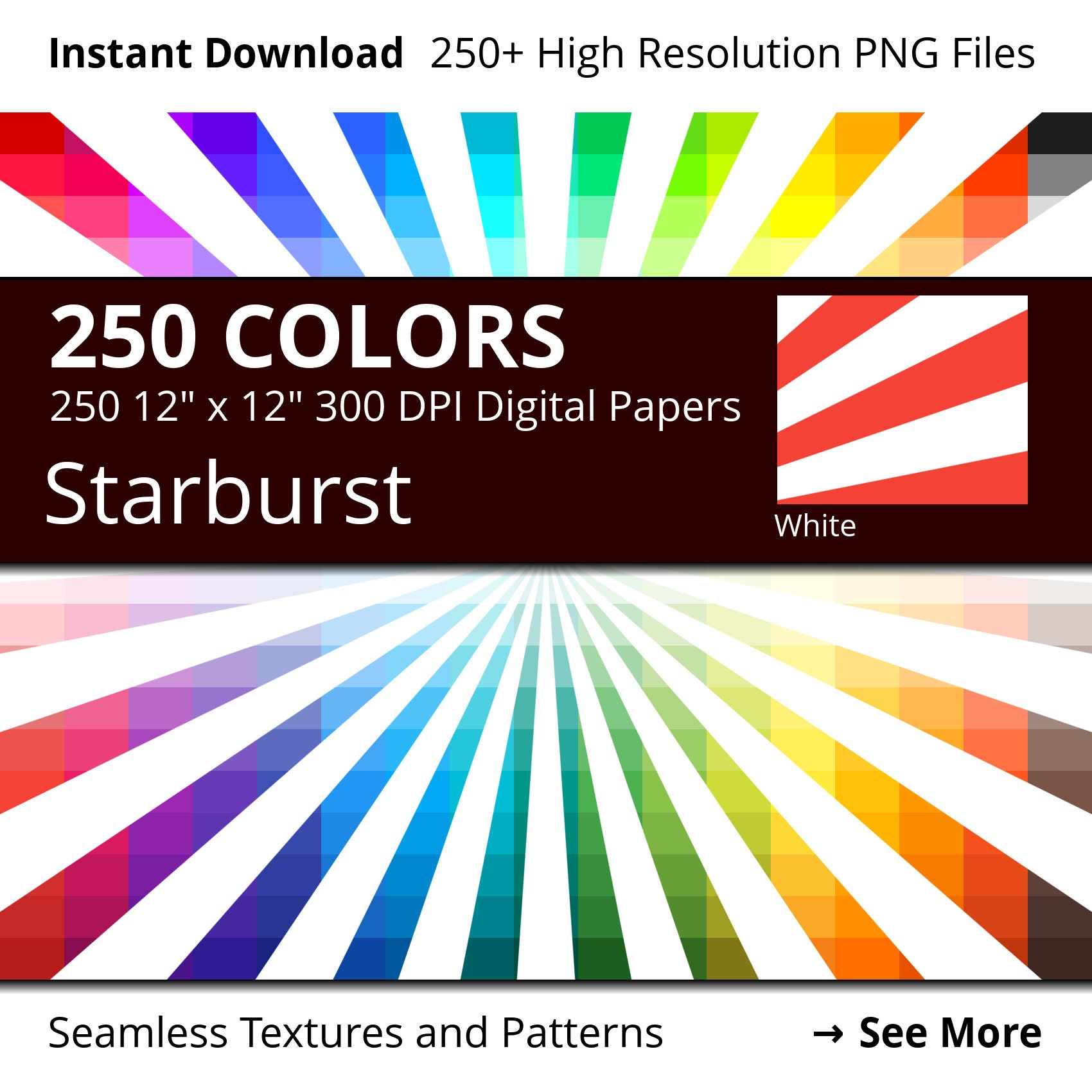 White Starburst Digital Paper Pack, 250 Colors Digital Paper Starburst  Scrapbooking Paper Download, Rainbow Colors Sunburst Pattern