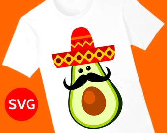 Mexican Avocado with Sombrero and Mustache SVG File for Cinco de Mayo invites and decorations
