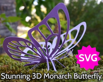 Stunning SVG Butterfly 3D or 2D. Cricut & Silhouette cut file to make amazing kirigami Monarch Butterflies that stand on their legs!