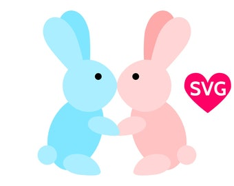 A very cute and adorable couple of kissing love bunnies for Valentine's Day, Love Bunnies SVG cut file and printable PDF clipart