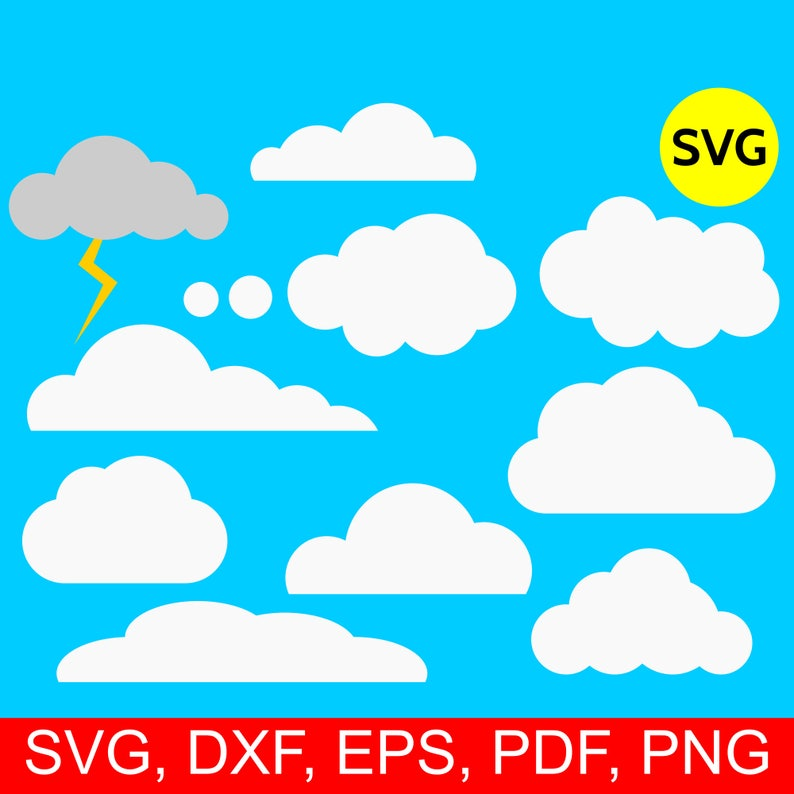 picture relating to Printable Clouds Cut Out referred to as 10 Cloud Svg Deal, Clouds SVG, Lightning SVG, SVG cloud, cloud clipart, cloud printable, cloud dxf, cloud clip artwork, cloud Svg data files Cricut
