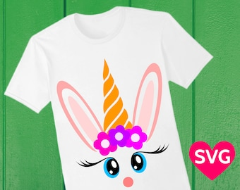 Easter Unicorn Face SVG file, is it a Unicorn with long rabbit earts, or a Easter Bunny with a carrot? Easter SVG file for girls