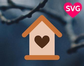 Wooden Birdhouse SVG file for Cricut & Silhouette, Bird house SVG, Heart Bird House SVG, Bird house dxf, Bird house clipart