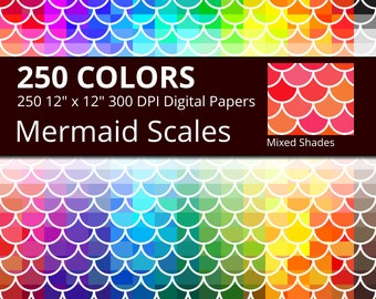 250 Mermaid Scales Digital Paper Pack with 250 Colors, Mixed Shades Mermaid Scales Pattern Scrapbooking Paper Download