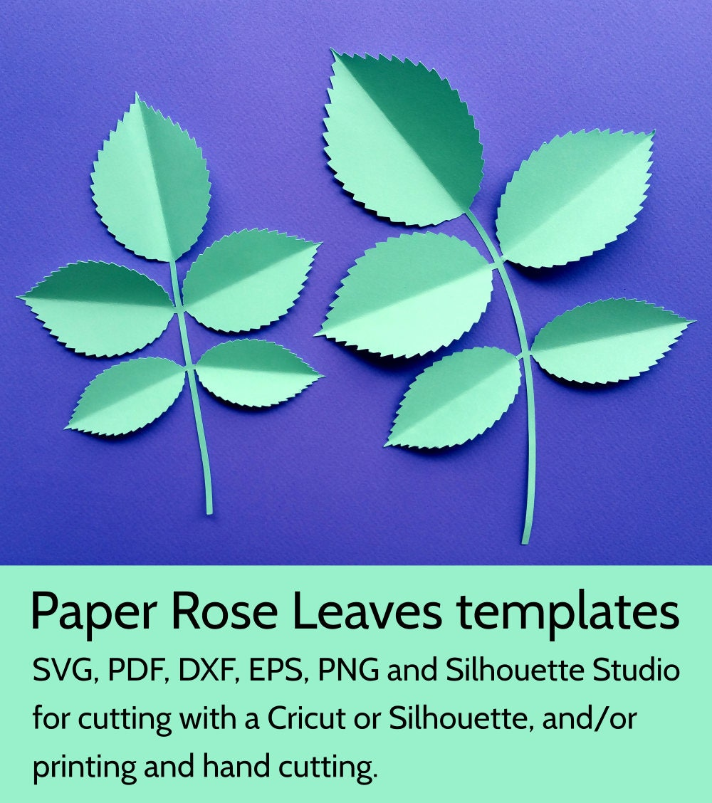 Paper Rose Leaves Template SVG DXF PDF png cut files for