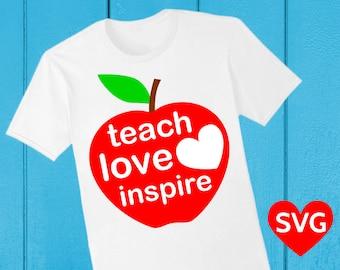 "Apple ""Teach Love Inspire"" SVG file to make cards for teachers"