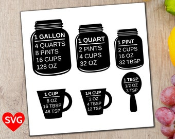Measuring Cups SVG file, a printable Kitchen Conversion Chart Cheat Sheet to easily convert gallons, quarts, pints, cups, ounces and spoons