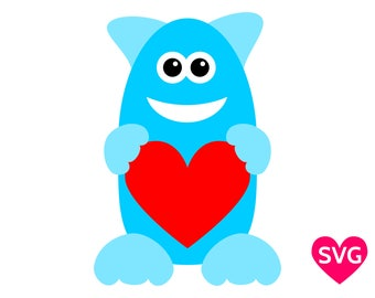 Love Monster SVG file, a very cute monster holding a heart for Valentine's Day