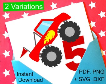 Monster Truck 5th Birthday SVG and Printable Clipart to make a 5th Birthday Shirt, Gift, Card, Invite or Invitations for boys