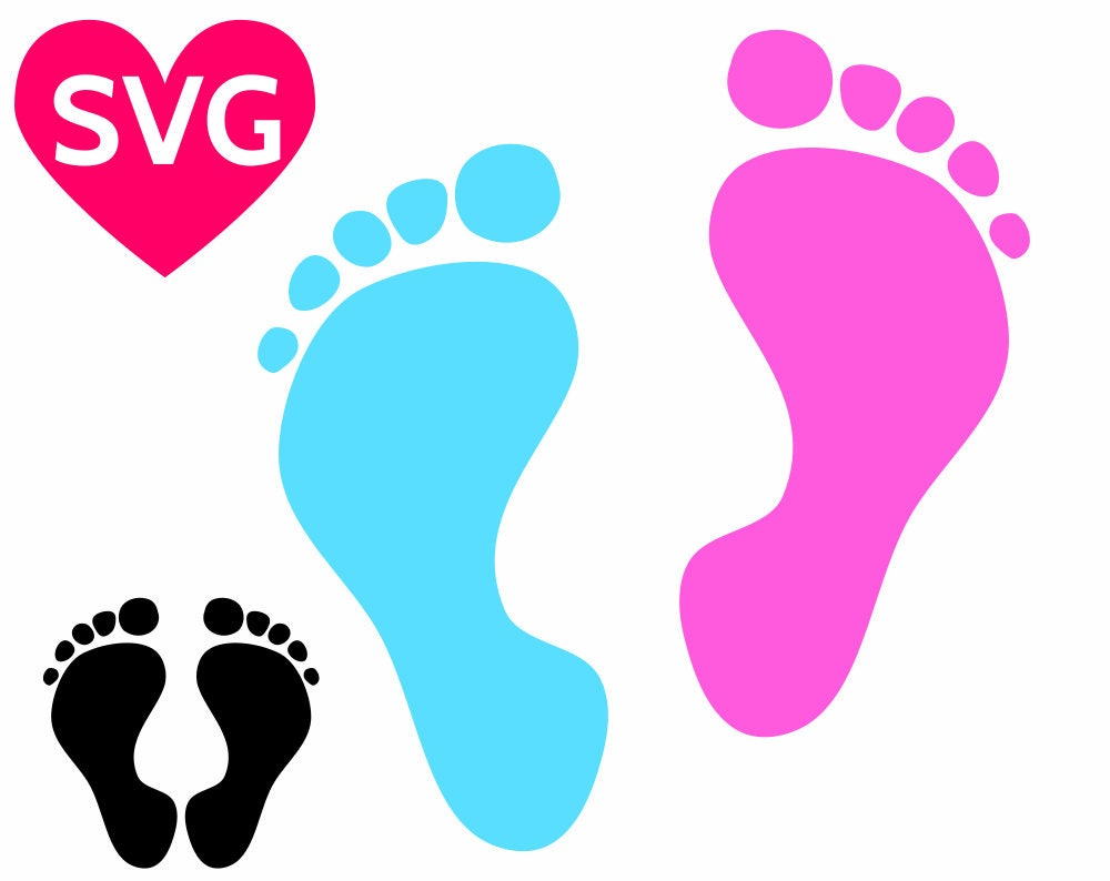 Baby Footprint Svg Baby Feet Svg Baby Foot Svg Baby Foot Print Svg File For Cricut Silhouette Baby Shower Svg Design Dxf Pdf Png