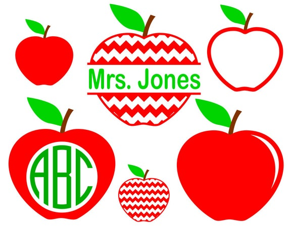 6 Apple Svg Files For Teacher Svg Apple Monogram Frame Etsy