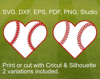 Baseball Heart SVG file for Cricut & Silhouette, Heart shaped Baseball Ball with Laces for Baseball lovers