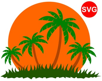 Tropical Sunset or Sunrise SVG file with Palm Trees and Grass for Cricut & Silhouette