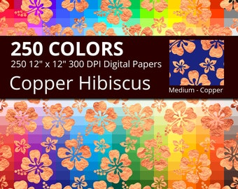 Hibiscus Flowers Copper Digital Paper Pack, Rainbow Colors Digital Paper Copper Hibiscus Pattern, Copper Floral Digital Papers Hawaiian