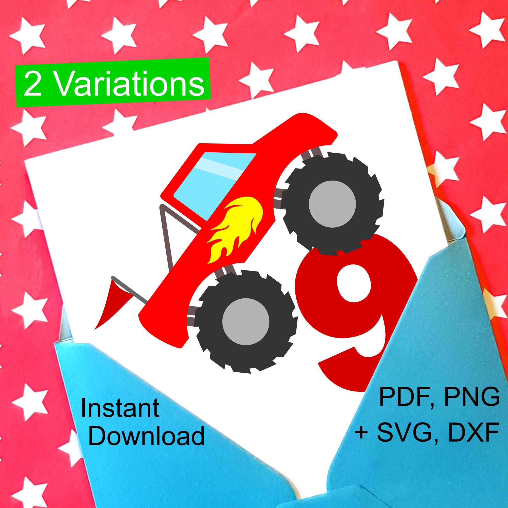 Monster Truck 9th Birthday SVG And Printable Clipart To Make A Shirt Gift Card Invite Or Invitations For Boys