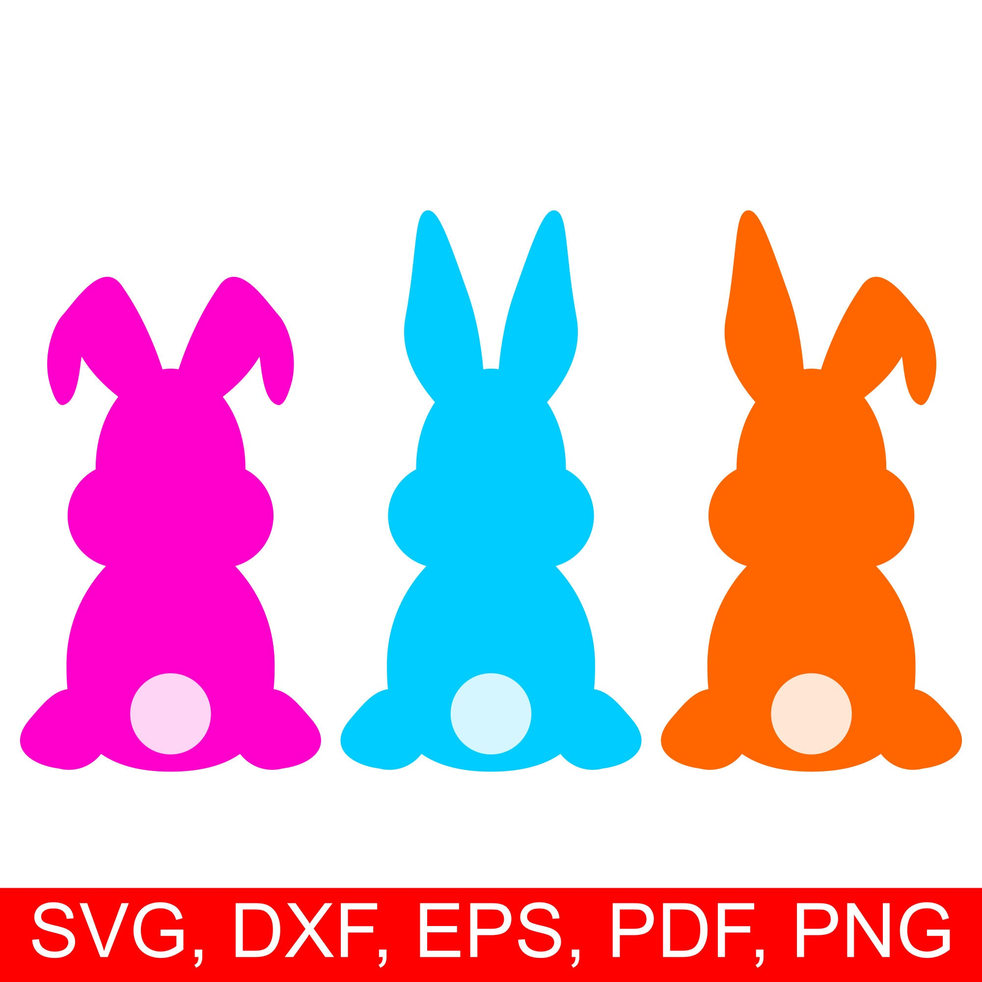 Easter Bunny Svg Cut File And Easter Rabbit Clipart Set Of 3 Assorted Easter Bunnies Silhouettes