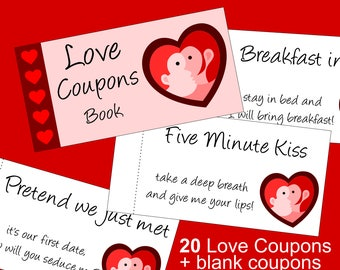 Perfect Last Minute Valentine Gift Idea for Him or Her: a Printable Love Coupons Book filled with Romantic Ideas