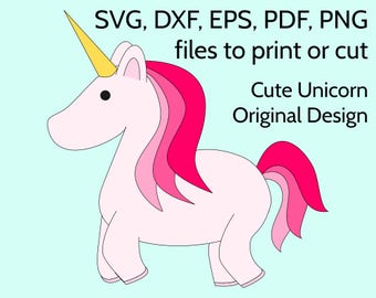 Pink Unicorn SVG file to print or cut with Cricut & Silhouette. Cute vector Unicorn template to make invitation, party, card, tshirt or gift
