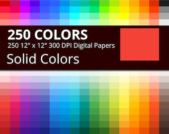 250 Solid Colors Digital Paper Pack with 250 Colors, Flat Rainbow Colors Scrapbooking Paper Download