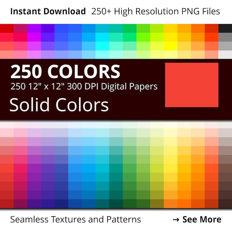 Solid Colors Digital Paper Pack 250 Colors Scrapbook Paper image 0
