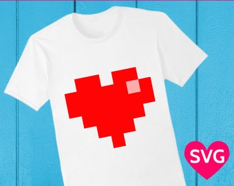 Pixel art Heart clipart and SVG cut file for Valentine's Day