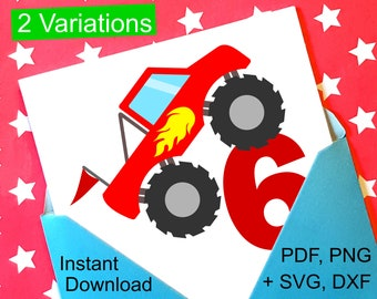 Monster Truck 6th Birthday SVG and Printable Clipart to make a 6th Birthday Shirt, Gift, Card, Invite or Invitations for boys