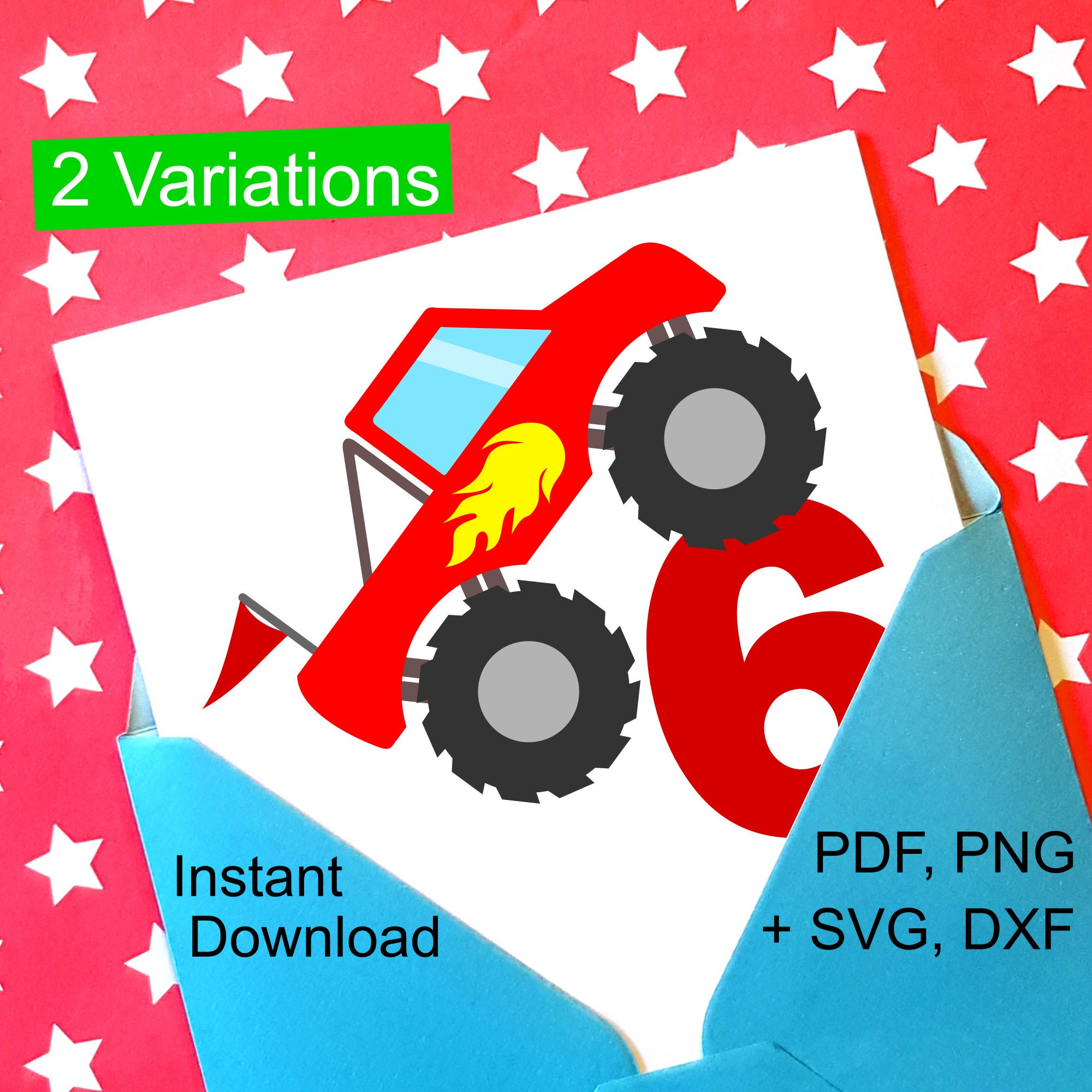 6th Birthday Boy SVG File Monster Truck